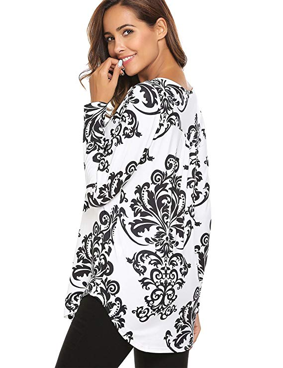 VEAZD Women Paisley Printed Long Sleeve Henley Pleated Casual Flare Tunic Blouse
